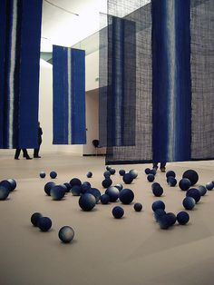 installation by a Japanese artist - apologies for not noting the artist's name but I think the title's right. Edit: the artist is Hiroyuki Shindo. Exhibition Display, Exhibition Space, Denim Art, Textiles, Conceptual Design, Red Art, Japanese Artists, Installation Art, Art Installations