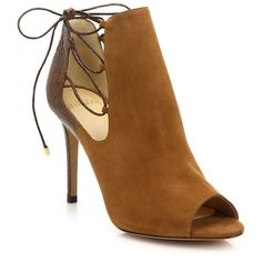 Alexandre Birman Suede & Watersnake Peep-Toe Booties ❤ liked on… Beige Ankle Boots, Nude Boots, Peep Toe Ankle Boots, Suede Booties, Bootie Boots, Suede Shoes, Cute Pumps, Stylish Boots, Pretty Shoes