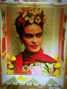 Altar mejicano de Frida Kahlo. (GloriArte143 ) Material reciclado. Detalles en relieve.(Vendido /Sold out)