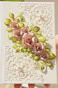 AdaBlog, Card with paper flowers and filigree corner, Heartfelt Creations