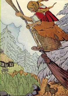 Baba Yaga, in Slavic folklore, is a witch-like character who flies around on a giant mortar and pestle, kidnaps and threatens to eat small children, Russian Folk, Russian Art, Baba Yaga House, Supernatural Beings, Wicked Witch, Children's Book Illustration, Book Illustrations, Folklore, Fairy Tales