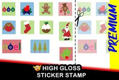 Premium Fun Christmas Stamp Sticker for Santa Claus gifts, Christmas Cards - Sheet of 11 each different from x 2 inch- HIGH GLOSS Bumper Stickers, Custom Stickers, Christmas Holidays, Christmas Cards, Holiday Gift Tags, Neighbor Gifts, Secret Santa Gifts, High Gloss, Vinyl Decals