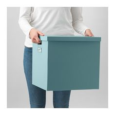 TJENA Box with lid - light blue - IKEA $5 comes in white also
