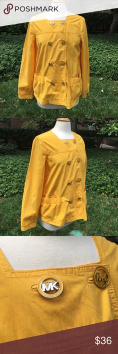 """Michael Kors Taxi Yellow Jacket Lightweight unlined double breasted jacket has MK signature front buttons, elastic cuffs and front pockets. Measures 20"""" inches armpit to armpit and 25"""" inches long. 100% cotton. 🚕Color: Taxi yellow 🌺Small spot on shoulder Michael Kors Jackets & Coats Utility Jackets"""