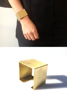 Merce Jewelry, Folded Square Cuff  Big Cuff Bracelet  Geometric by MERCeJewelry