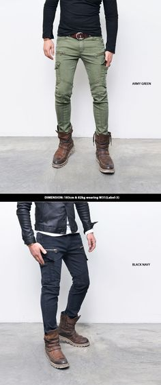 Slim Skinny Cotton Zip Biker Cargo-Pants 165 - GUYLOOK