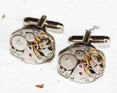 Steampunk Cufflinks made with Citizen watch movements! Come in DELUXE Leatherette gift box! Cool gadget gift choice for him! $50
