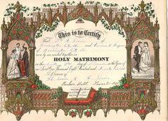 antique wedding certificate