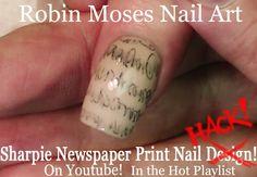 Sharpie nail art hack! #Sharpie #Nails #Newspaper #Nail #Art #HACK |#Easy #DIY Nail #Design #Tutorial @polishedperfect #polishedperfect #losangeles #project #california #nailart