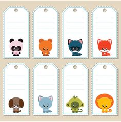 Cute animals name tags, labels. CLICK TO GET. Printables. #nametags