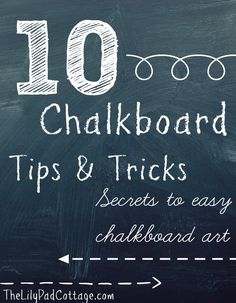 My top 10 chalkboard tips and tricks for making your own chalkboard art. From picking fonts to what chalk and tools to use, everything you need to know. Chalkboard Writing, Chalkboard Lettering, Chalkboard Designs, Chalkboard Paint, Chalkboard Ideas, Chalkboard Drawings, Blackboard Art, Chalk Writing, Magnetic Chalkboard