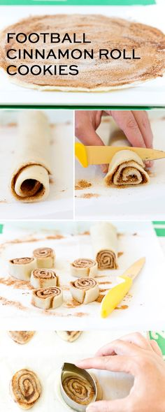 Step-By-Step Instructions for making delicious Football Cinnamon Roll Cookies, the perfect treat for tailgates! A delicious and easy tailgate food that's perfect for the big game! Football Desserts, Football Treats, Football Cookies, Football Food, Breakfast Tailgate Food, Easy Tailgate Food, Just Desserts, Delicious Desserts, Dessert Recipes