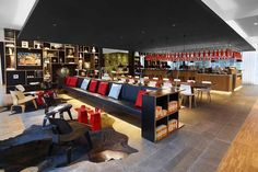 architecture project Citizenm Rotterdam Vivid and Captivating Design Exuded by New citizenM Hotel in Rotterdam London Hotels, Boutique Hotels London, Deco Restaurant, Restaurant Design, Commercial Design, Commercial Interiors, Cafe Bar, Hotel Interiors, Arquitetura