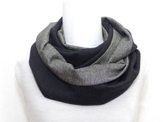 186538aeaa99 2 Wool fabrics, Infinity scarf, top quality, Snood scarf, mens womens,  loop, gray patchwork soft