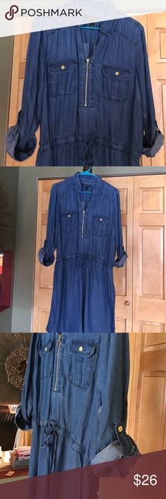 Blue Jean Style Zipper Dress Look cute and comfy in this stylish zipper and drawstring waist dress. All zipper and buttons are gold. Sleeves can be worn up or down with buttoned cuffs.  Make waist tighter and a gathered blousy look on top to make a shorter dress or wear it with leggings for a different look. Made of a 100% lyocell which is a soft lightweight fabric. Can be washed in cold water. NWT never worn!! INC International Concepts Dresses Long Sleeve