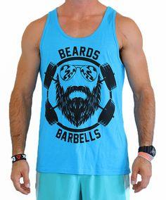 "CrossFit Project X Men's ""Beards and Barbells Pro Model"" Tank - Black on Neon Blue"