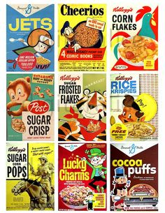 miniature dollhouse Make your own mini vintage cereal boxes! Great for kds, great for dollhouses! Enlarge and reduce as needed! VINTAGE CEREAL BOXES Trix,Corn Flakes, Frosted F Vintage Advertisements, Vintage Ads, Vintage Labels, Stock Image Websites, Food Tags, Food Labels, Doll Food, Barbie Food, Vintage Packaging