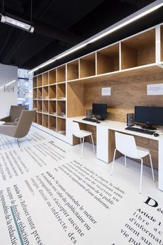 Unique modern office floor design. | Fifty Shades of Grey | In Theaters Valentine's Day Workspace Design, Office Workspace, Office Interior Design, Interior Design Inspiration, Design Ideas, Office Designs, Design Concepts, Corporate Interiors, Corporate Design