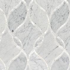 Artistic Tile | Bianco Carrara Claridges Stone & Shell Water Jet Mosaic | Water Jet Collection