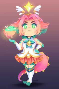 Star Guardian Neeko by PixelatedFairy on DeviantArt League Of Legends Characters, Lol League Of Legends, Girls Characters, Fictional Characters, Fantasy Artwork, Neko, My Images, Chibi, Memes
