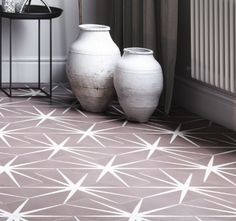 Lily Pad is a hexagonal shaped tile available in three striking colours. These wonderfully inventive tiles can be rotated to make up to three entirely different designs. Pink Tiles, Encaustic Tile, Blush Roses, Inventions, Artisan, Lily Pad, Colours, How To Make, Handmade