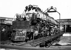 Locomotive No. 4010 on the turntable at Odgen, Utah. Union Pacific installed longer turntables between Cheyenne, Wyo., and Ogden to accommodate the longer, more powerful locomotives.