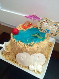 Beach theme Happy Birthday Cake