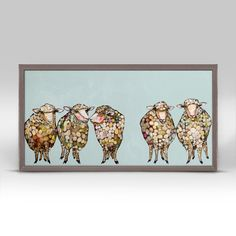 """5 Woolly Sheep"" Mini Framed Canvas from GreenBox Art + Culture. Size - 10''x5''. Price - $29.98. Rustic frame color is predetermined. Browse our entire collection of Mini Framed Canvases!"
