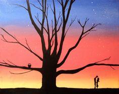 "canvas art valentines day ""Love Tree"" silhouette art 16 x 20 wall art valentine decor starry night woodland nature huge wall art"