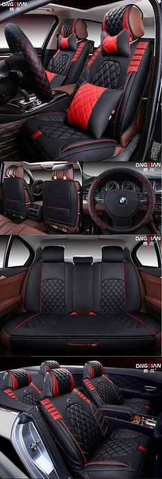 Luxury Cars: Luxury Black And Red Universal Interior Pu Leather Car Seat Cover 15Pcs BUY IT NOW ONLY: $124.0 #priceabateLuxuryCars OR #priceabate