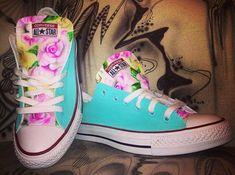 Custom painted converse chucks allstars Flowers by DacCrewAirbrush