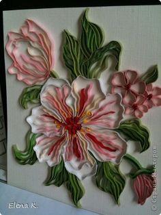 Картина панно рисунок Квиллинг Контурный квиллинг - Цветы Бумажные полосы фото 1