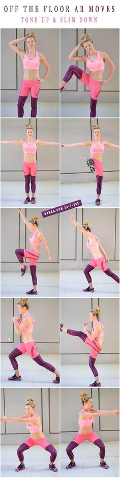 Standing Abs Workout. Do each move in a circuit with little or no break in between. Try these for 8 weeks 3 times a week on non consecutive days. #abs #fitness #exercise #workout #weightloss #health by frances