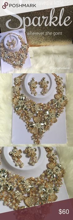Gorgeous Statement Necklace Gold tone/crystal/pearl Statement bib necklace. Five🌟🌟🌟🌟🌟 Guaranteed show stopper.  Gold hardware, weighty yet delicate Sophia Collection Jewelry Necklaces