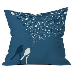 Pillow with a singing birds motif by Belle 13. Made in the USA.  Product: PillowConstruction Material: Woven pol...