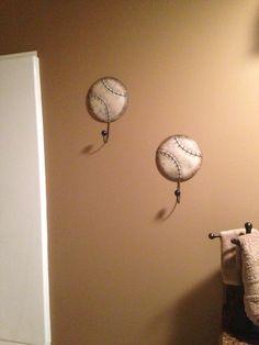 Bathrobe Hooks For Baseball Themed Bathroom