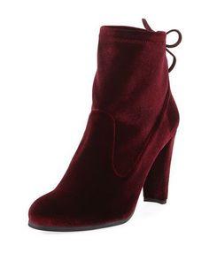 STUART WEITZMAN CATCH VELVET BOOTIE WITH ANKLE TIE, WINE. #stuartweitzman #shoes # #stuartweitzmanbooties