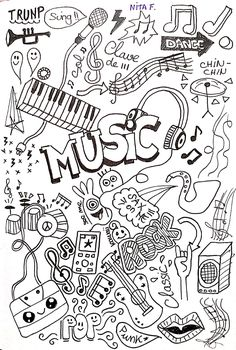 Doodle drawing about Music Music Doodle, Cute Doodle Art, Doodle Art Designs, Doodle Art Drawing, Cute Doodles, Music Drawings, Music Artwork, Art Drawings Sketches, Cute Drawings