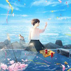 Yukihiro Nakamura Web Aesthetic Anime, Aesthetic Art, Fantasy Landscape, Fantasy Art, Simple Anime, Illustration Girl, Girl Illustrations, Anime Art Girl, Anime Girls