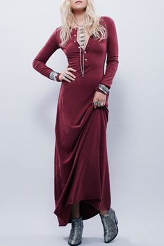 Burgundy Maxi and silver baubles