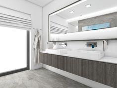 Minimalist bathroom in the shades of gray Minimalist Bathroom, Shades Of Grey, Bathroom Lighting, Bathtub, Mirror, Bathrooms, Furniture, Gray, Design