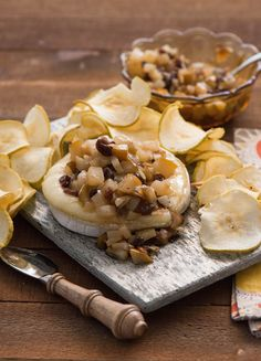 Baked Brie with Pear Chips? Yes, please. #SenecaSnacks #Brie #Cheese #Appetizer #Snack #Food #Foodie