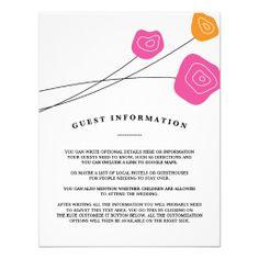 Pink Orange Roses White Wedding Custom Insert Card