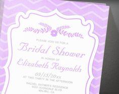 Lavender Chevron Stripes Bridal Shower Invitation