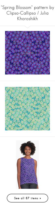 """""""""""Spring Blossom"""" pattern by Clipso-Callipso / Julia Khoroshikh"""" by clipso-callipso ❤ liked on Polyvore featuring home, home decor, bloom, floral, blue home decor, blue home accessories, pink home decor, floral home decor, spring home decor and t-shirts"""
