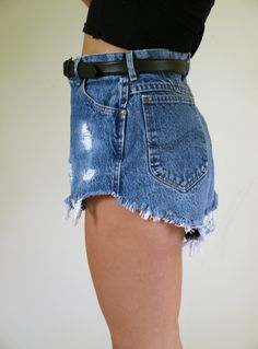 Distressed Cut Off High Waisted Jean Shorts Lee DIY