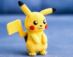 """Pikachu – character from popular franchise """"Pokemon"""" that is managed by The Pokémon Company, a Japanese consortium between Nintendo, Game Freak, and Creatures.Crochet Pattern of Pikachu from Pokemon (Amigurumi tutorial PDF file)Crochet PATTERN Pokemon Crochet Pattern, Pikachu Crochet, Crochet Bear, Crochet Patterns Amigurumi, Crochet Animals, Crochet Dolls, Free Crochet, Crochet Romper, Crochet Cozy"""
