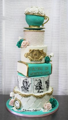 Alice in Wonderland Cake Alice In Wonderland Tea Party Birthday, Alice In Wonderland Cakes, Disney Desserts, Disney Cakes, Disney Themed Cakes, Pretty Cakes, Beautiful Cakes, Amazing Cakes, Sweet 16 Cakes