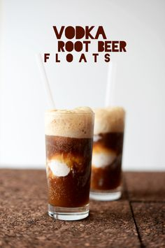 Vodka Root Beer Float    2 cans Root Beer (or other natural soda)  4 Tbsp (2 oz) quality vodka (Kahlua and dark rum also worked nicely)  4 scoops ice cream.    Split a can of soda between two large glasses and then add a shot of vodka to each.  Carefully drop two scoops of ice cream into each glass and then top off with remaining can of root beer.