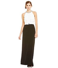 Ignite Evenings BeadNeck Popover Color Block Gown #Dillards